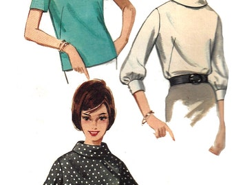 1960s Blouse Pattern Butterick Vintage Sewing Shirt Top Cowl Neckline Women's Misses Size 12 Bust 32 Inches