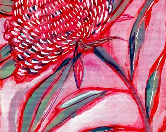 Pink and Red Botanical Study No.1 Archival Wall Art Print
