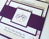 Purple and Coral Nautical Wedding Invitation, Cruise wedding invitations, vintage Destination Ship wedding invite, Anchor wedding invitation