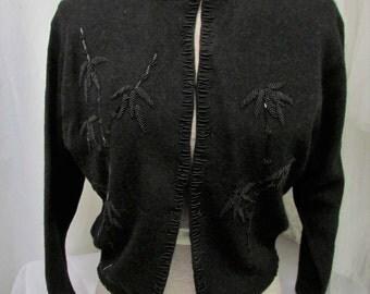Vintage 1950's 1960's Beaded Sweater Black Lambswool Cardigan ~ Ron Richard California Label