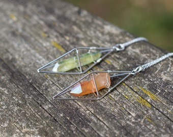 Tangerine or Green Apple Aura Quartz Necklace / Silver Geometric Caged Crystal Necklace / Boho Gypsy Healing Quartz Point Dipyramid Necklace