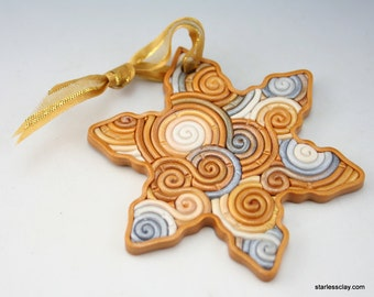 Fimo Snowflake Christmas Ornament in Silver, Gold, White Polymer Clay Filigree