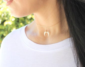 Tiny Double Horn Necklace, Choker Necklace, Gold Layering Necklace, Moon Necklace, The Silver Wren
