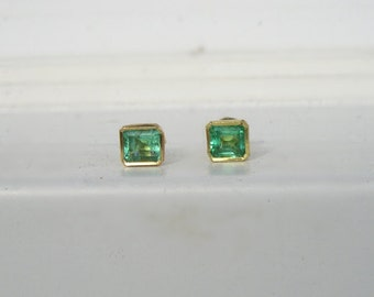 18K Solid Gold & Natural Colombian Emerald Stud Earrings