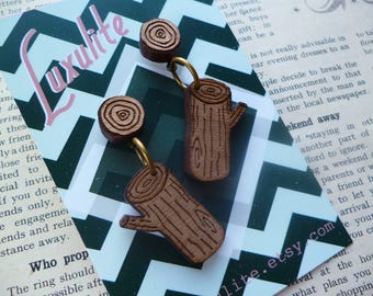 My Log does not judge... Handmade novelty Twin Peaks Log Lady themed earrings by Luxulite