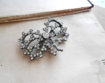 vintage flowery bow ribbon rhinestone brooch - costume jewelry for wear or repurpose