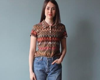 chevron button up shirt | short sleeve earth toned 90s top | small - medium
