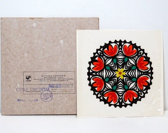 Vintage Polish Papercut Wycinanka Lowicka/ Hand Made Wycinanka Paper Cut Mandala with Red Tulips