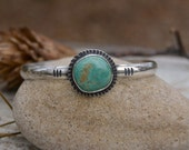 Green Turquoise Cuff Bracelet. Bohemian Stamped Sterling Silver Cuff. Southwestern Cuff. Stacking Open Bangle. Art Jewelry.