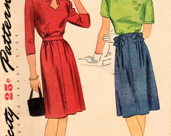 1940s Simplicity 1237 Vintage Sewing Pattern Misses One Piece Dress, Keyhole Dress Size 14 Bust 32