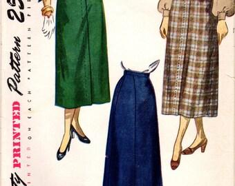 1940s Simplicity 2624 Vintage Sewing Pattern Misses Flared Skirt, Tea Length Skirt Size Waist 26, Waist 28, Waist 30
