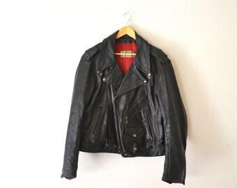 1970's Bates Black Leather Motorcycle Jacket