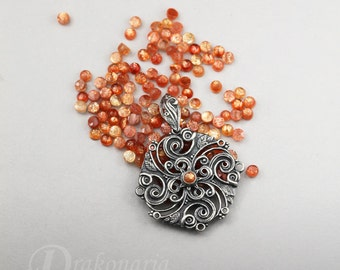 Solar mandala with sunstone, citrine, amber, labradorite - carved silver pendant, limited collection