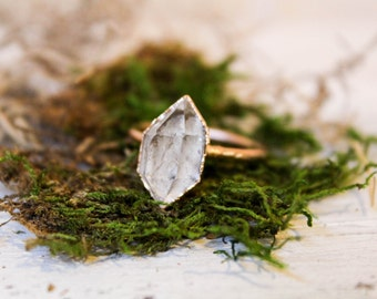 Herkimer Diamond Ring - Raw Stone Engagement Ring - Raw Quartz Ring - Rough Diamond Ring - Bohemian Wedding Ring - Promise Ring For Her