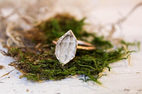 Herkimer Diamond Ring - Raw Stone Engagement Ring
