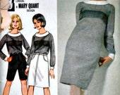 Butterick 3505 Vintage 60's Mary Quant Sewing Pattern, Junior Dress, Blouse, Skirt & Bermuda Shorts, 1960's Mod Fashion, Size 11, Uncut