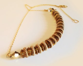 GOLD GLASS Beads and Gold Filled discs Choker