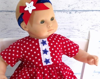 4th of July Doll Dress with Matching Headband, 15 inch Doll Clothes Red White Blue Dress