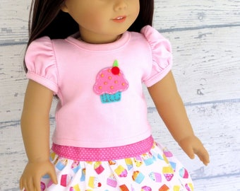 Birthday Cupcake Top with Twirl Skirt, 18 inch Doll Clothes Birthday Outfit