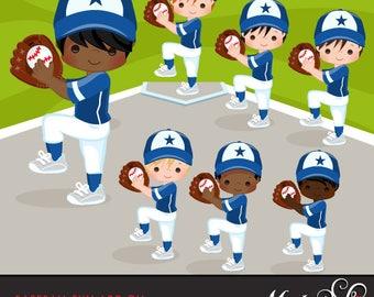 Baseball Clipart ADD ON. Baseball graphics, baseball players, baseball game illustrations, kids playing baseball, home run, african american