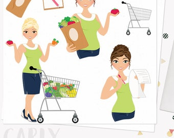 Grocery shopping character clipart,  woman digital web clip art, food produce shop, healthy blonde, brunette and auburn hair (Carly L261)