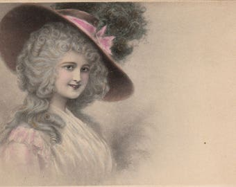 Vintage Tinted Postcard Lovely Lady in Big Hat 1910s
