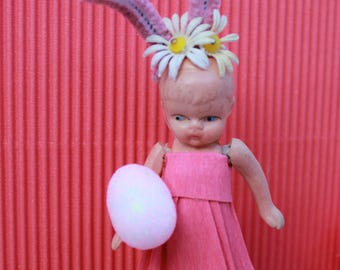 Vintage Composition Bunny Doll - Easter, Pink with Daisy