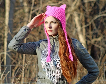 This Hot Pink Pussy Hat Grabs Back! Cat Kitten Fox Ear EarFlap Cap Women's March on Washington. Political Fashion Accessory