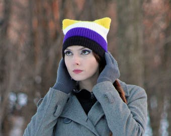 Gender Non Binary Pride Pussy Hat Cat Kitten Striped Black Purple White and Yellow Human Rights Parade Gay Lesbian Trans Queer LGBTQ
