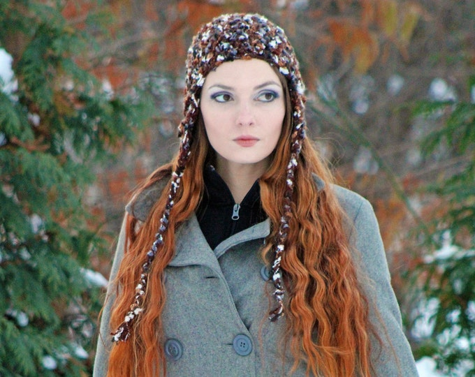 Brown Earth Tones Earflap Trapper Hat Gift for Her or for Him Children Teens and Adults