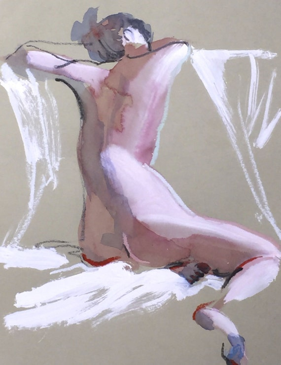 Nude painting- Original watercolor painting of Nude #1362 by Gretchen Kelly