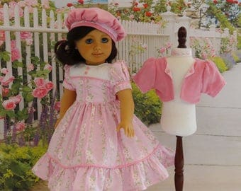 Spring Daisies - dress, jacket & beret for American Girl doll