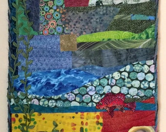 Landscape by Moonlight Abstract Fiber Art Quilted Wall Hanging