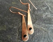 Copper and Black Onyx Teardrop Earrings, Gemstone Dangles, Rustic, Boho, Bohemian