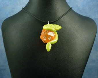 Bright Green and Peach Dicekeeper Dragon Necklace - D20 Pendant