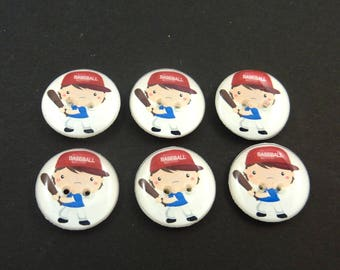 "6 Baseball Buttons.  3/4"" or 20 mm Boy Baseball Player Sewing Buttons."
