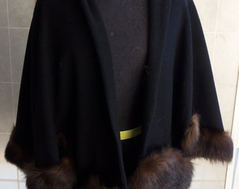 Vintage 1950's Black Wool Cape with mink Trim
