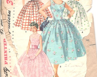 Simplicity 1213 1950s Rockabilly DRESS Pattern Full Skirt Simple to Make Womens Vintage Sewing Pattern Size 12 Bust 30 or Size 10 Bust 28