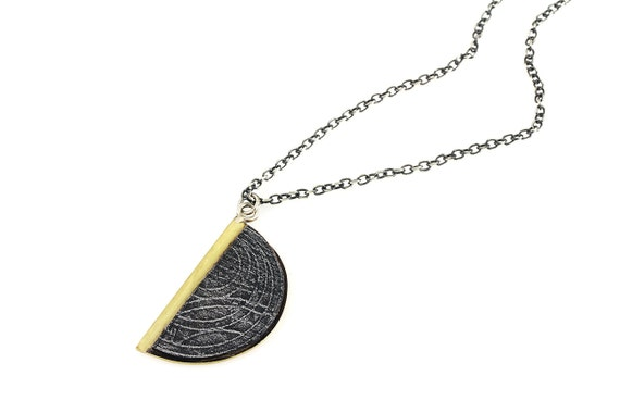 Half Circle Texture Pendant on Sterling Chain