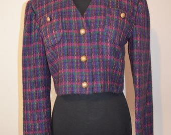 Vintage Cropped Blazer Jacket. Stripe Plaid Neon Tweed Color Trend shoulders tapered sleeve fitted bodice purple pink Gold bust 38