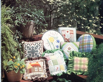 Spring In Bloom Cross Stitch Patterns Flowers Gingham Madras Plaid Daffodils Cozy Cottage Pillows Pictures Hearts Embroidery Pattern