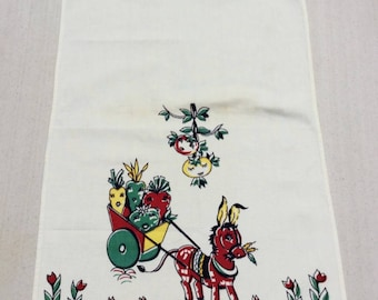 Vintage Broderie Towel Donkey Cart w Smiling Tomatoes & Carrots