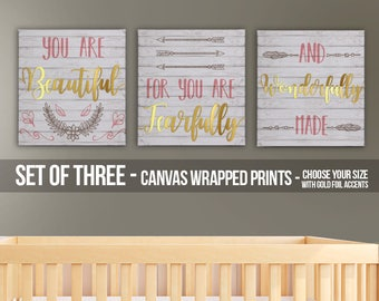 Girls room canvas I am fearfully and wonderfully made canvas with gold foil SET of THREE canvas prints FBP-004