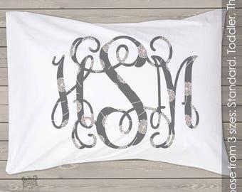 Gray floral monogram pillowcase / pillow - great unique gift personalized PIL-102