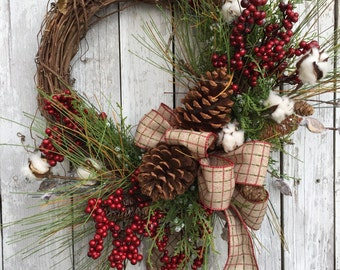 Country Christmas Wreath, Christmas Wreaths, Country Christmas Wreath, Artificial Pine Christmas Wreath for Door