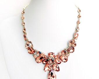 Necklace - Stunning Rhinestone Bib Necklace in Gold Blush - Pearls - Vintage Style - Statement Bridal Necklace - Crystal Bib Necklace