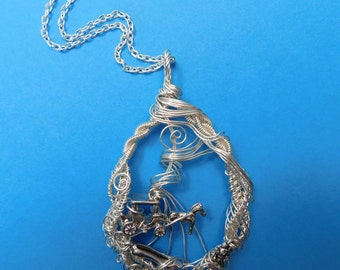 Unique Jewelry Girlfriend Gift, Cinderella Pendant, Artistic Woven Wire, Fairy Tale Necklace, Wrapped Sculpted Art, Handmade Present Ideas