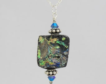 patina covered ancient Roman glass and Swarovski crystal sterling silver necklace 18 inch FREE SHIPPING OOAK