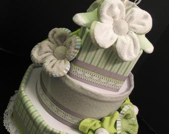 Diaper Cake - Unique Shapes - Gray Green - Baby Shower Centerpiece - Baby Gift - One of a Kind