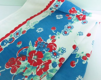 Vintage Fruit & Flower Tablecloth, Cherries, Grapes, Raspberries and More in Red, Blue and Jadeite Green
